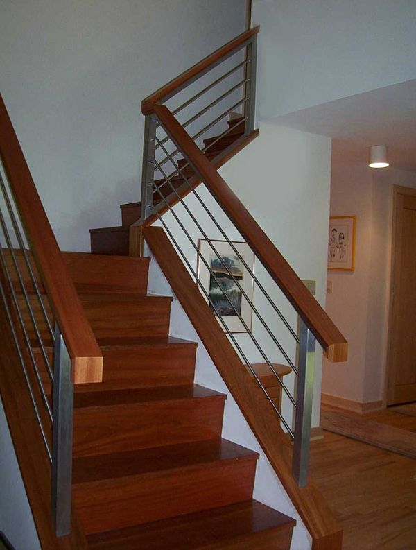 This Contemporary Staircase Was Built From Brazilian Cherry Custom