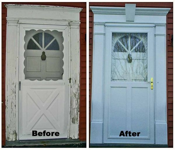 BEFORE - The original door casing had peeling paint and was rotting at the bottom. AFTER - The casing was replaced with Fypon, a rot-free urethane product. A new storm door was installed for an updated look.