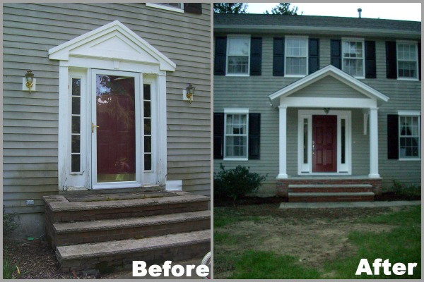 BEFORE - This entry was vulnerable to rot because it wasn't flashed properly and didn't have a porch overhang. AFTER - The siding, framing and the entry door had to be replaced because of rot. The porch was flashed properly and a new overhang was added to improve curb appeal and prevent future rot problems.