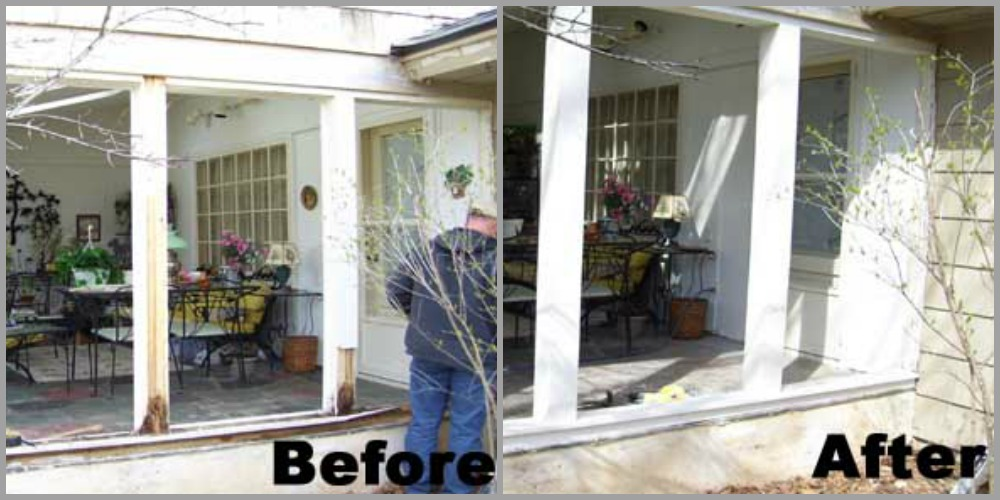 BEFORE - Without proper flashing the structural posts of this screen porch were rotting away. AFTER - The posts were replaced with pressure treated framing, wrapped with Azek - a composite rot-free material - and flashed to prevent rotting.