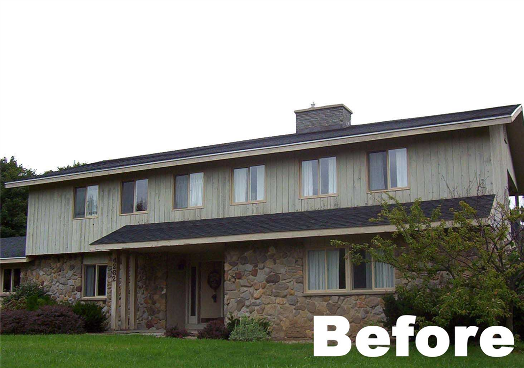The Original Siding Material Used On This Home Was Stone And Vertical Cedar  Boards. The