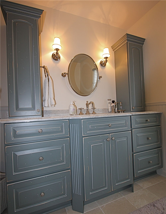 Rustic Distressed Slate Blue Glazed Cabinets With Elegant