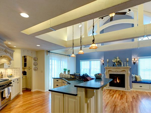6 great kitchen floor plan design ideas for Open concept galley kitchen designs