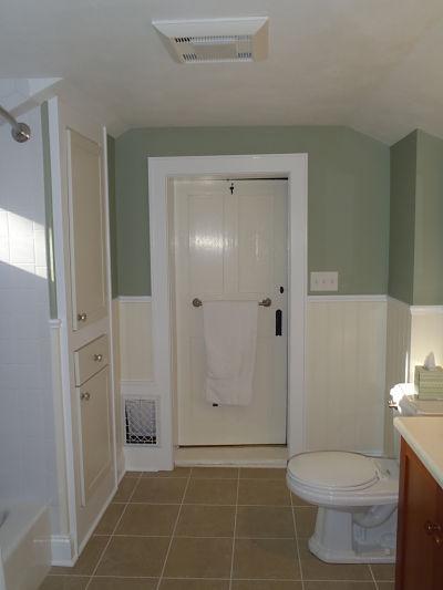 Second floor bathroom built in cabinet for Second bathroom ideas