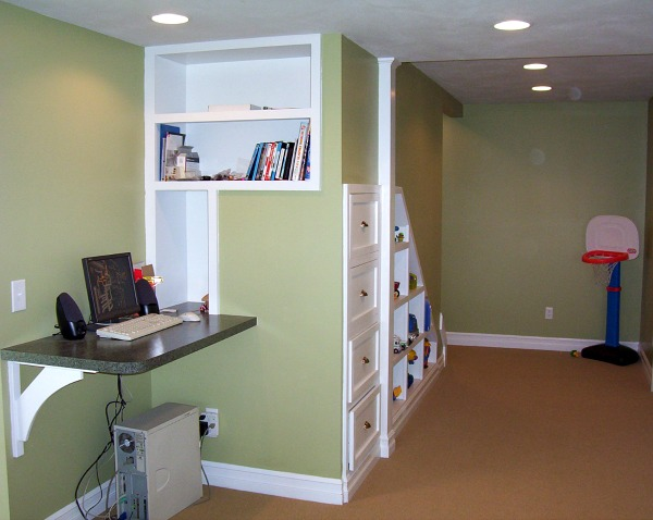 Basement with Built in Shelving and File Cabinets