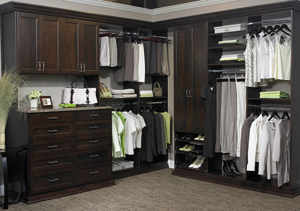 custom walk in closet with multiple rods and drawers - Custom Closet Design Ideas