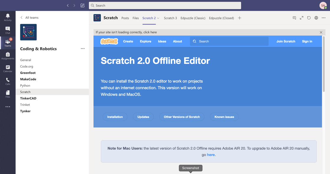 SchoolCoding link to download Scratch 2.0 in a MS Team