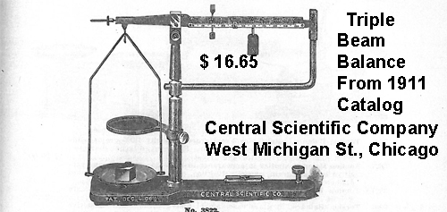 Triple Beam Balance from 1911 CENCO Catalog