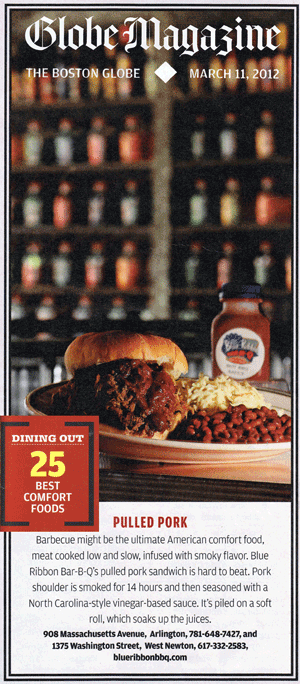 boston globe 25 best comfort foods pulled pork sandwich blue ribbon bbq