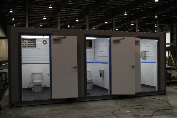 portable shipping container toilets