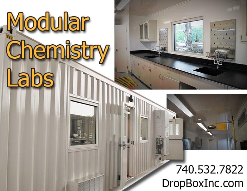 portable laboratory, portable chemical lab, containerized lab, modular laboratory, modular chemical lab, chemical lab in a shipping container, chemical lab in a container