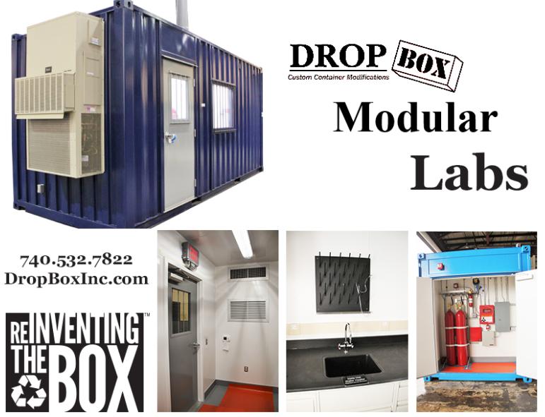 ISO Shipping container modifications, DropBox Inc, ISO Shipping container, shipping container modifications company, Worthington KY, modular lab, modular laboratory, Wurtland KY