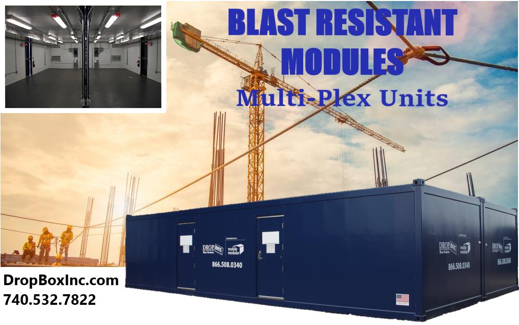 blast resistant ISO shipping container modificatio, BRM, blast resistence, Custom BRM, Multi-Plex BRM, Multi-Plex Blast Resistant Module