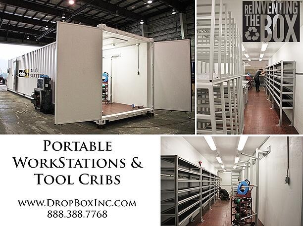 shipping container modification, DropBox Inc, modular workstation, portable work station, mobile work station, mobile workstation, tool crib, tool storage