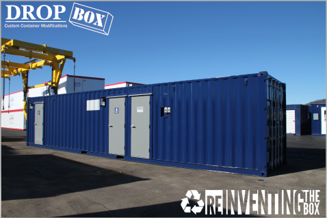 ISO Shipping container modifications, DropBox Inc, shipping container modifications, running water restroom, self contained restroom, containerized restroom, modular running water restroom, container restroom, modular restroom, shipping container restroom, portable running water restroom