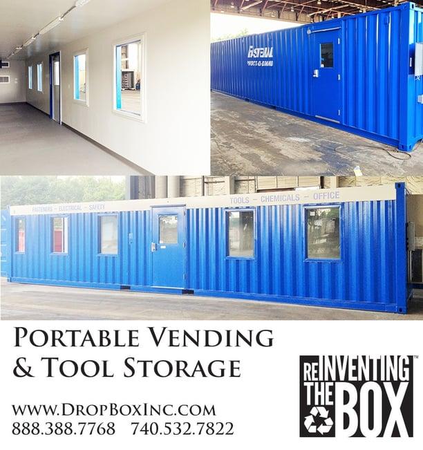 ISO Shipping container modifications, DropBox Inc, custom ISO shipping container modification, ISO shipping container modification, blast resistant tool crib, tool crib, tool storage