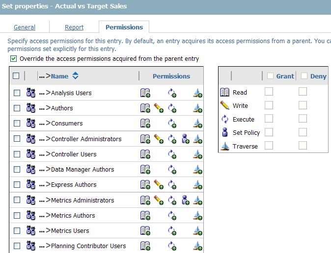 Cognos report permissions screen