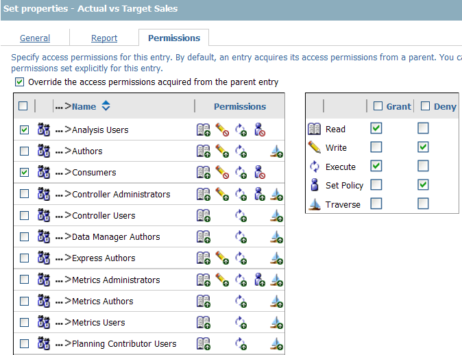 Modify report permissions in Cognos
