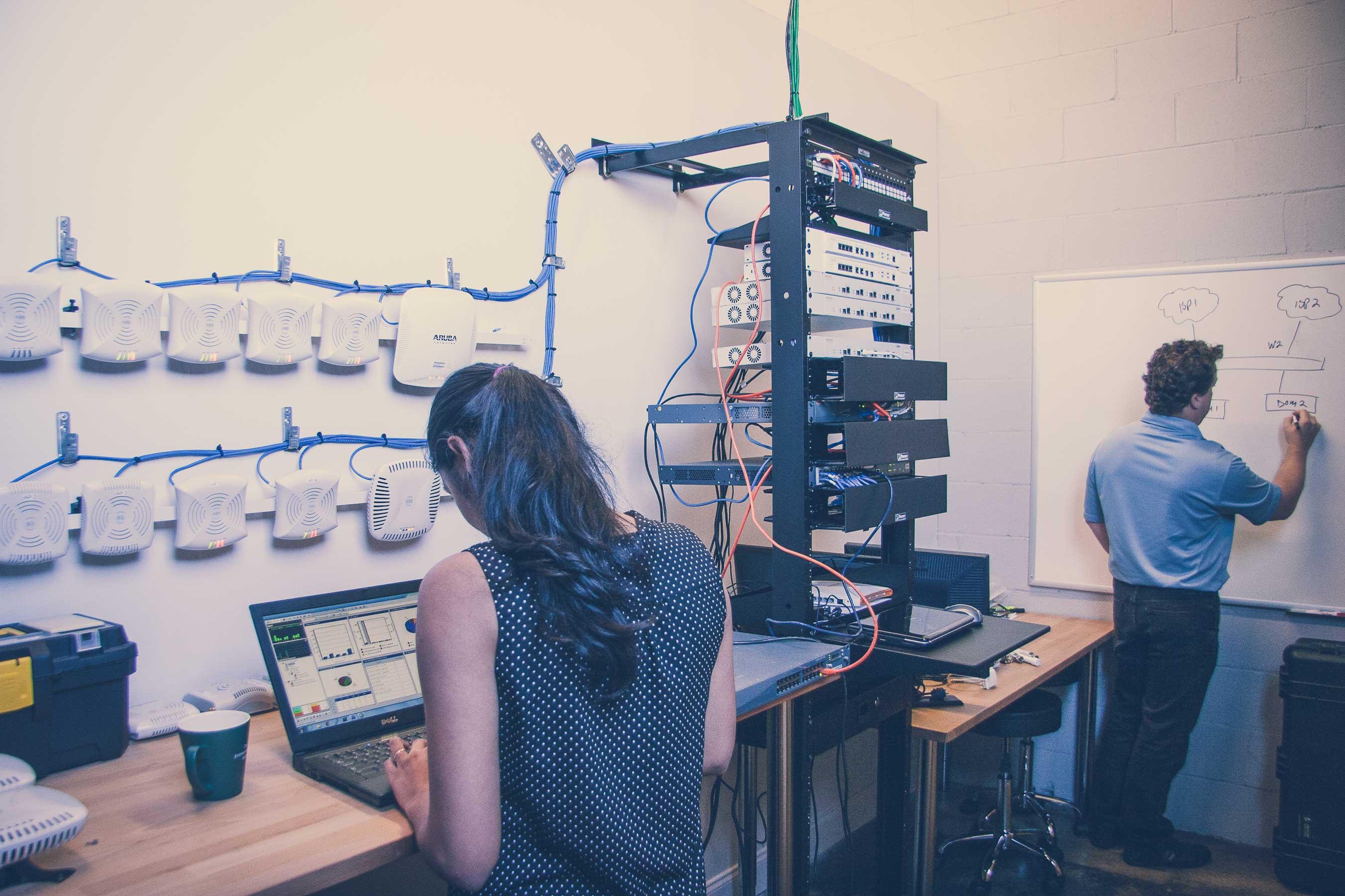 network engineers designing an enterprise-grade wireless network