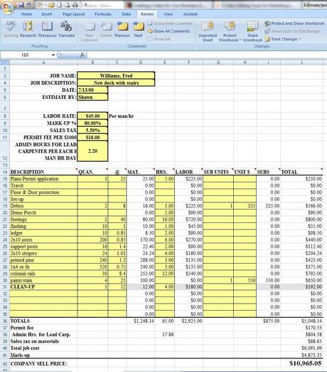 Excel quote template Material list for building a house spreadsheet