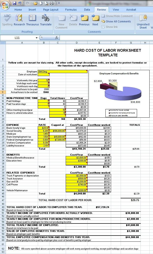 Request Shawn S Free Excel Burdened Labor Cost Worksheet