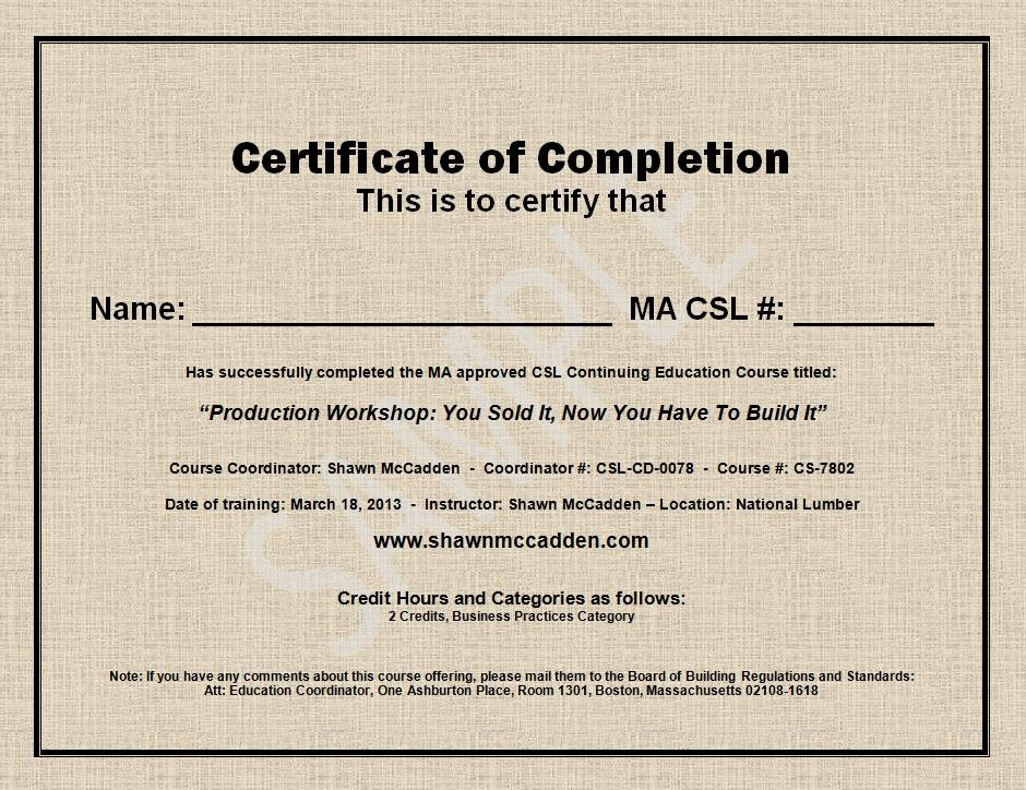 sample certificate of completion template .