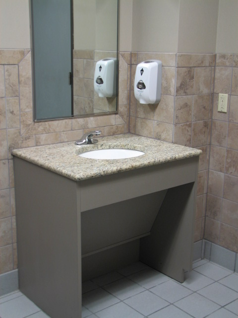 Ada vanities and the accessible route for Wheelchair accessible sink bathroom