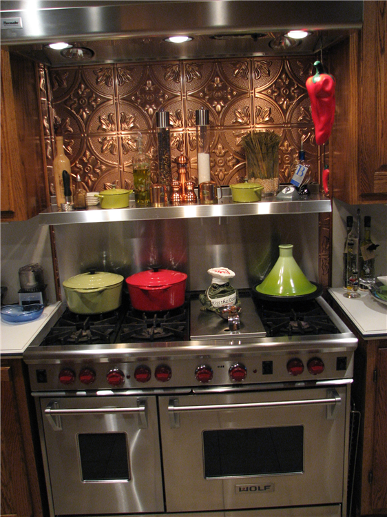 ... Stainless Steel With A Copper Back Splash
