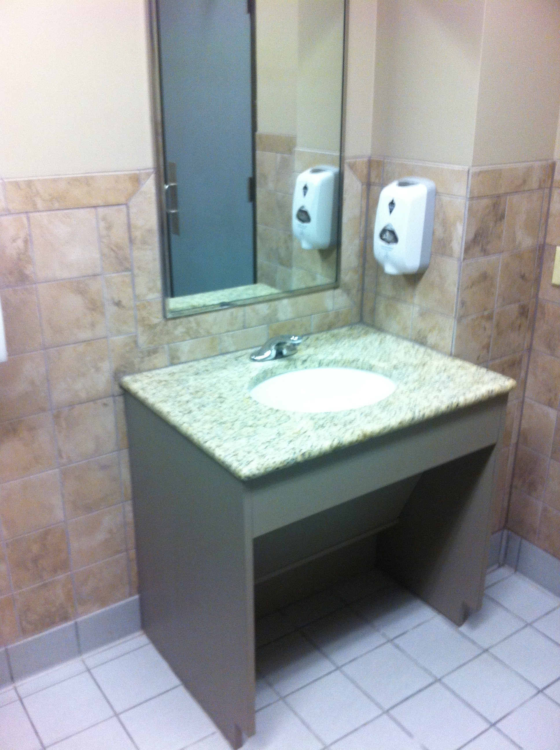 Vanity access for wheelchair -  Roll Under Vanity With Lift Out Panel For Protection From Pipes