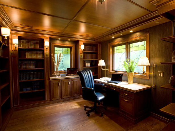 ... A Home Office With A Warm Wooden Ceiling ...
