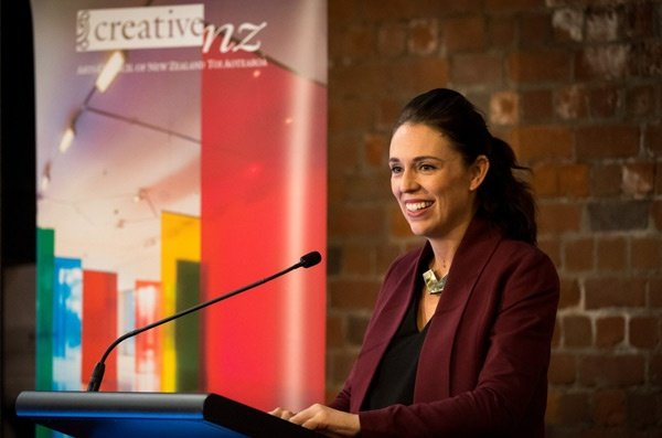 Jacinda Ardern launching the  Creative NZ arts survey results.
