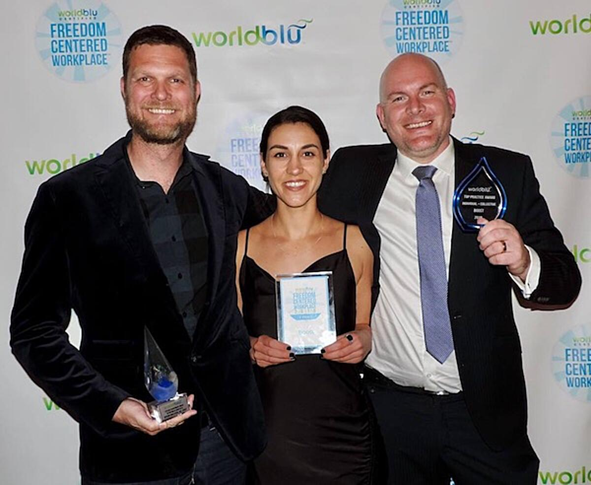 Click the photo of Nathan Donaldson, Rebecca Jones and Gavin Coughlan with their Worldblu Awards to learn more about our award-winning Culture Posters.