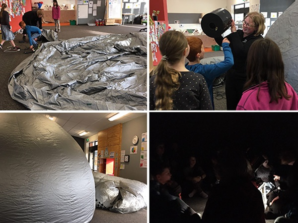 Click the photos of the Starlab being set up at Shotover School to see the Otago Museum's Facebook post on the visit.
