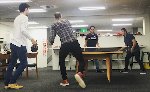 Click the photo of people playing ping pong at Boost to preview the APF course on YouTube.