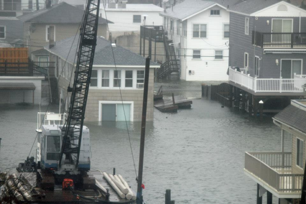 hurricane, sandy, storm, damage, bay, Ventnor, NJ, flood