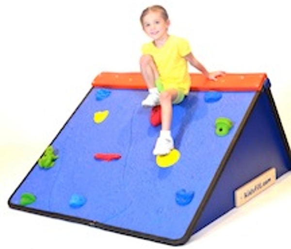 This mini climbing wall is perfect for younger users as it allows them to climb at various angles. Bright and colorful hand grips and foot holds aid in balance and fun! Shipping Weight: 175 lbs.