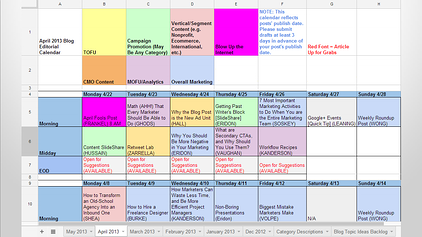 Business Blog Editorial Calendar