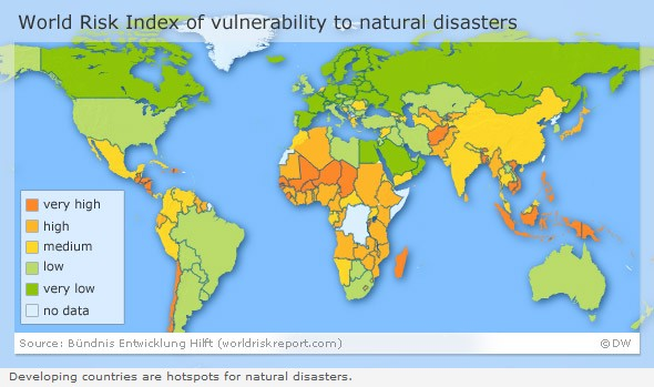 World vulnerability to natural hazards