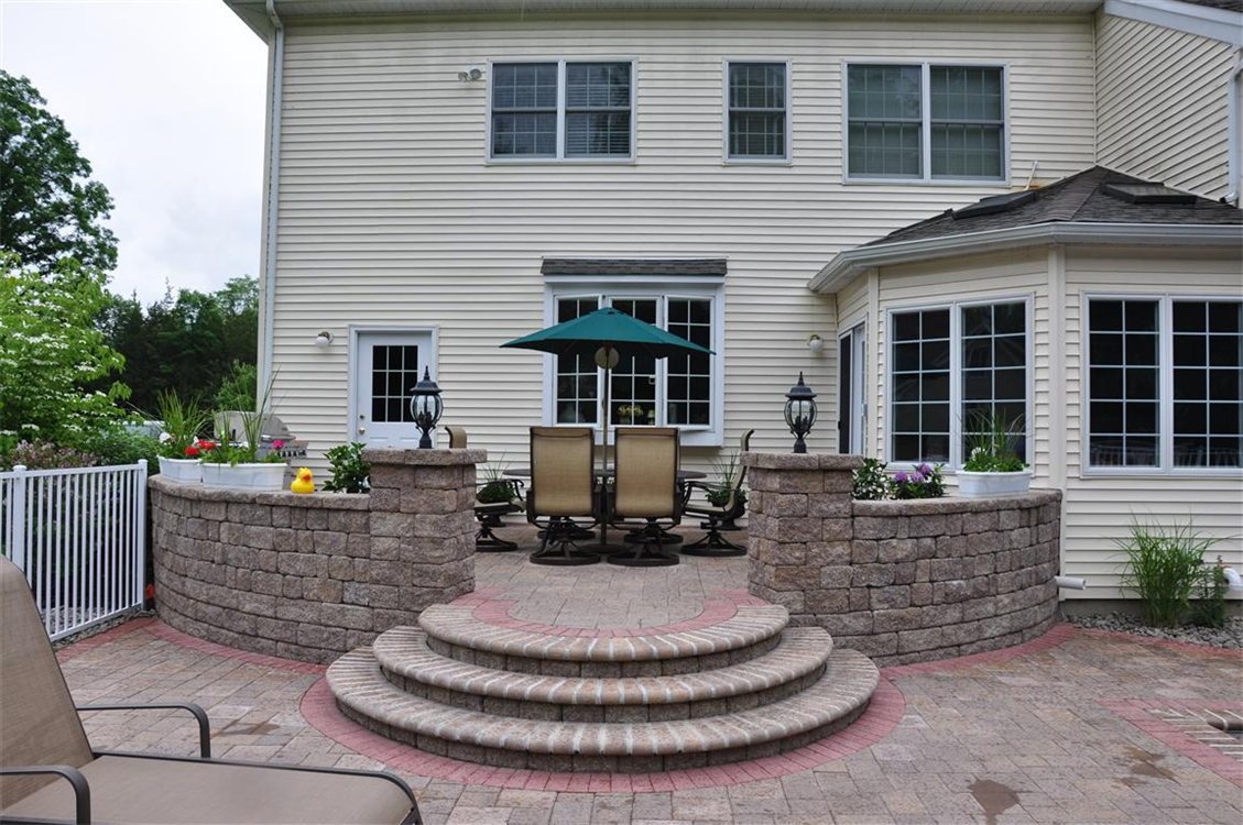 Versa-Lok raised Patio with seating walls and rounded stairs. Location, Fishkill, NY