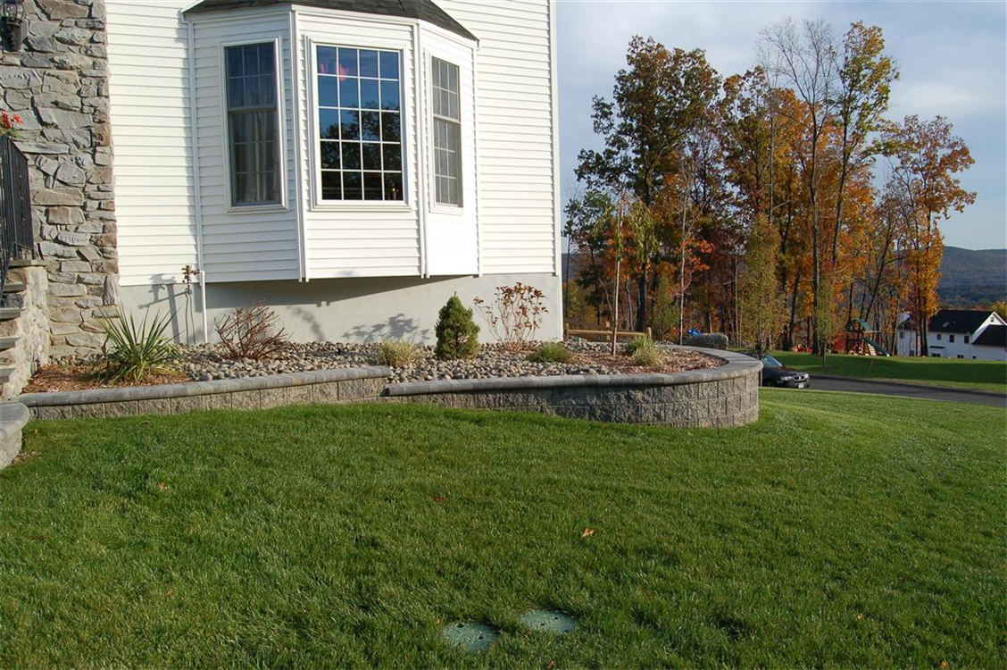 Versa-Lok Retaining wall with Bull-nose cap in Antique Grey. Location, Highland Mills, NY