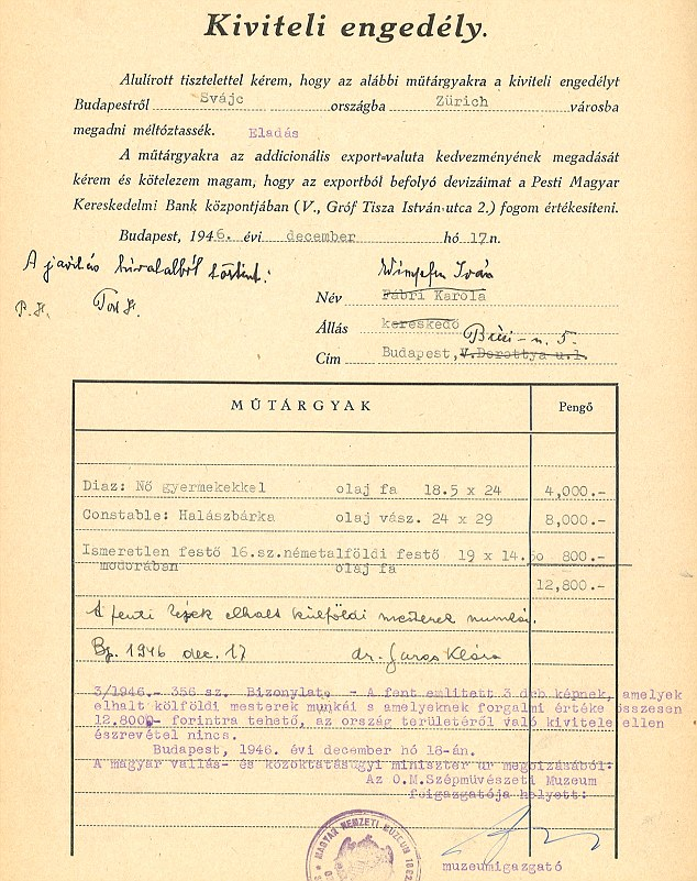 Postwar Export Permit Apparently At The Center Of Shift In Tate
