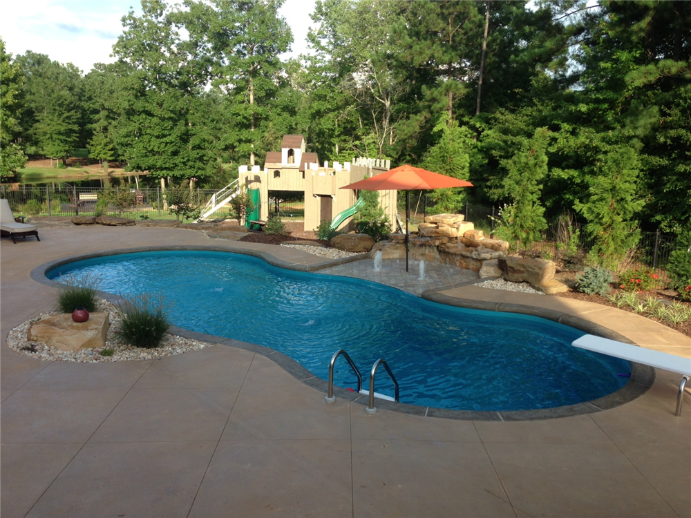 Fiberglass Pool Ideas fiji freeform inground fiberglass pool 15a Earls Pools Al Fiberglass Pool Salesservice