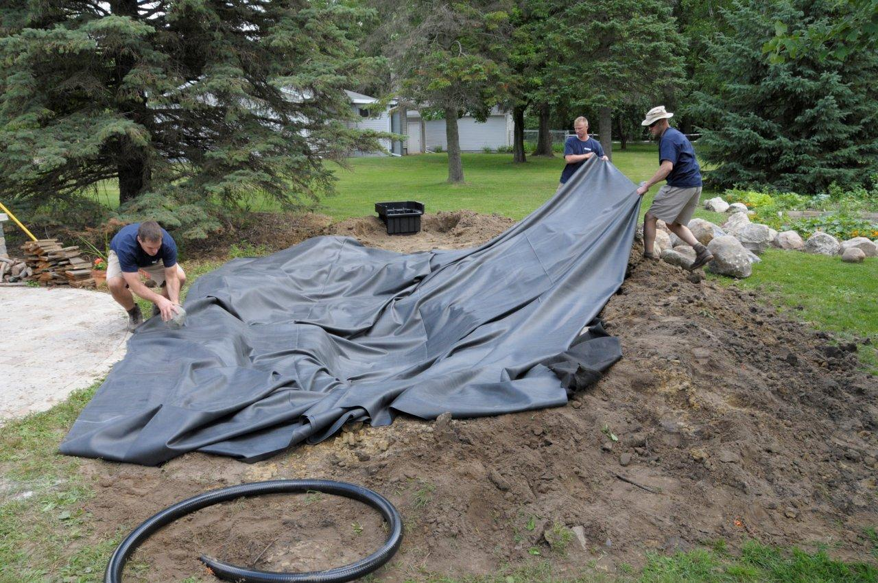 Pondbuilder blog water garden blog pond liners for Fish pond installation