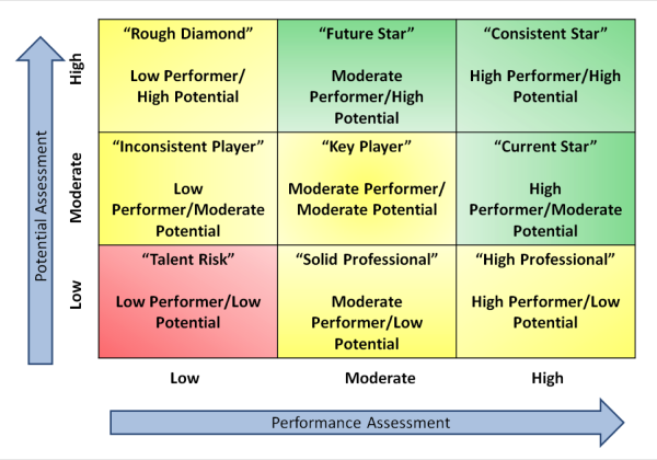 Development at the top use the 9 box to develop talent for Talent mapping template