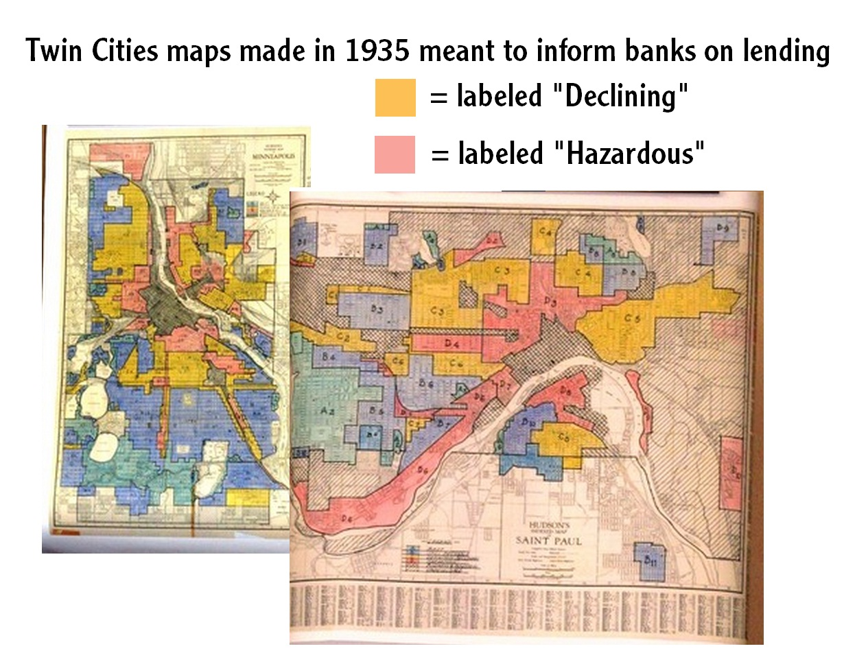 Redlining map of the Twin Cities