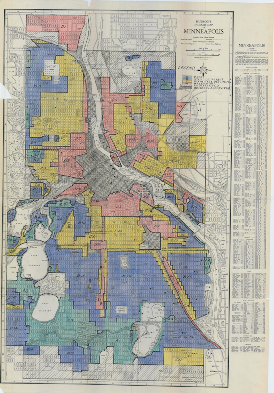 A map of redlining in Minneapolis.