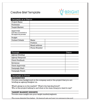 Creative agency brief template for Copy brief template