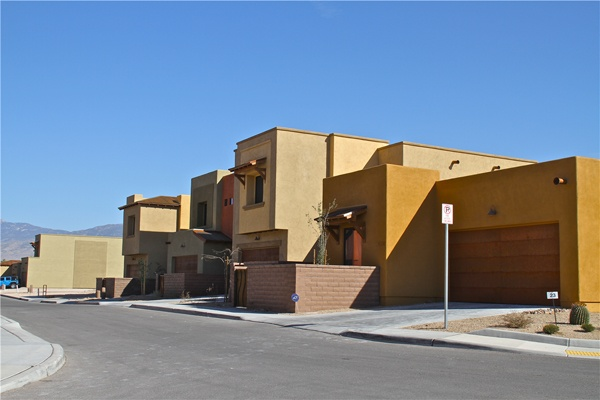 Colorfully arranged new homes in Tucson
