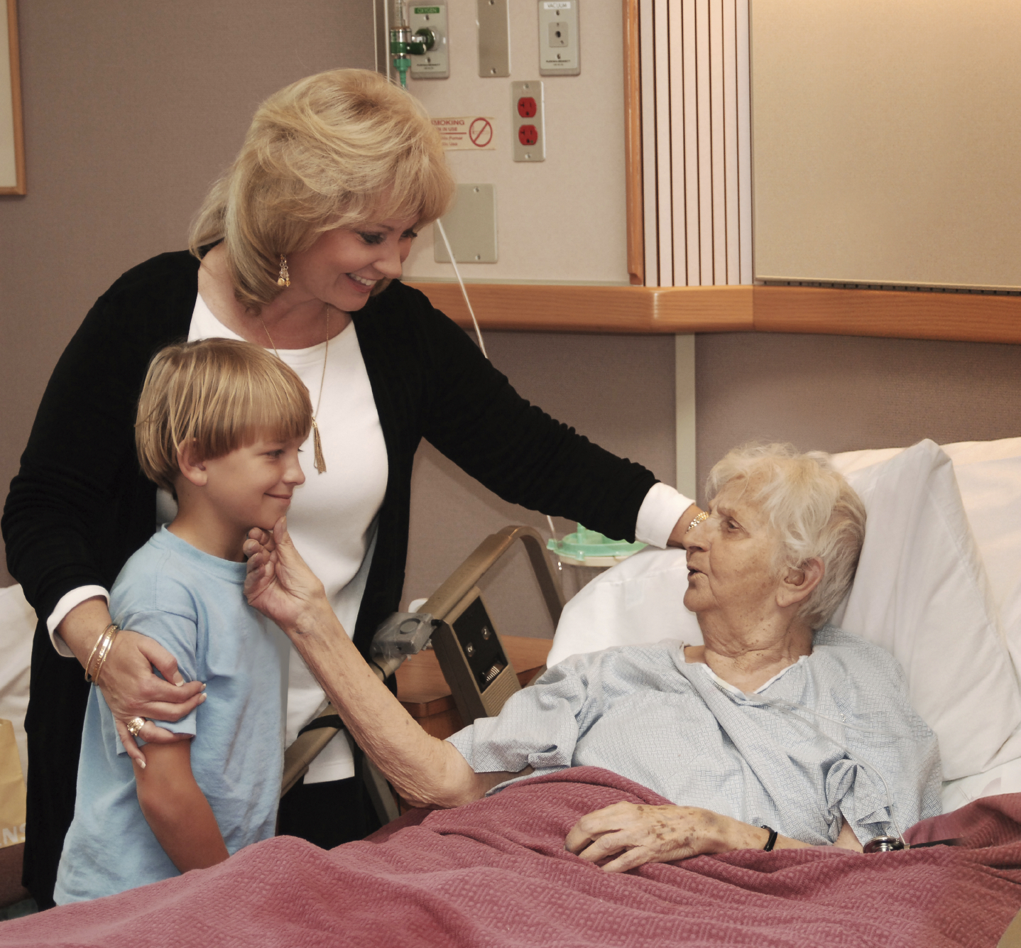 Hospital room with patient and family - Hospital Room With Patient And Family