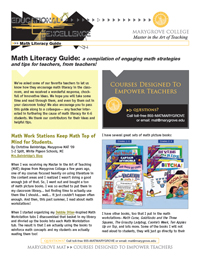 Marygrove MAT offers K-6 a new, free math literacy guide!